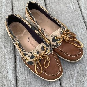 EUC Sperry Top-Sider Firefish leopard boat shoes